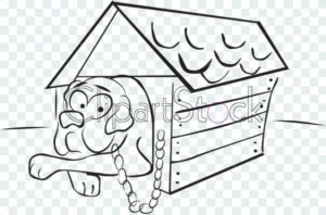 dog in a doghouse - ClipartStock